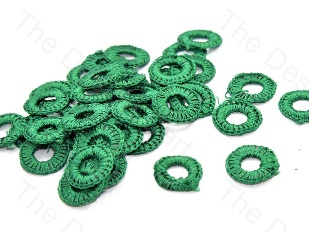 Dark Green Small Round Crochet Thread Rings | The Design Cart