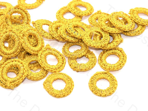 Bright Yellow Small Round Crochet Thread Rings