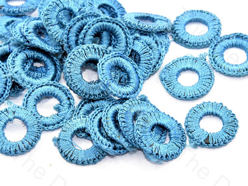 Turquoise Small Round Crochet Thread Rings