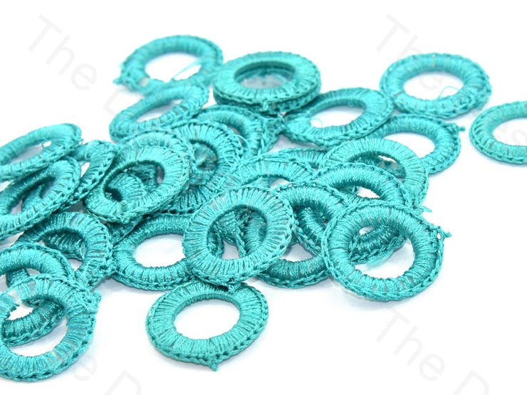 Sea Green Medium Round Crochet Thread Rings | The Design Cart