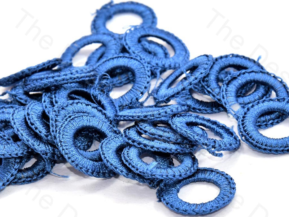 Blue Medium Round Crochet Thread Rings