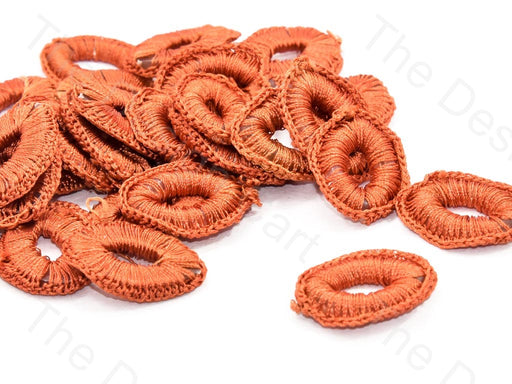 Dull Orange Oval Crochet Thread Rings
