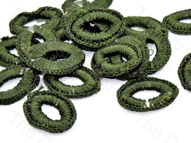Army Green Oval Crochet Thread Rings | The Design Cart