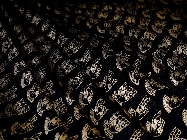 Black Human Hand Design Polyester Chanderi Fabric (1670624182306)