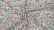 White Pastel Pink Flowers Heavy Thread Work Embroidered Net Fabric (4530685739077)
