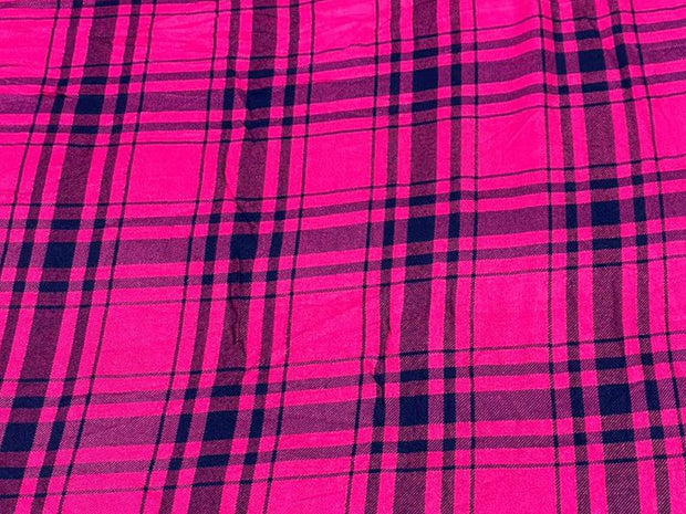 Hot Pink Black Yarn Dyed Checks Printed Cotton Fabric