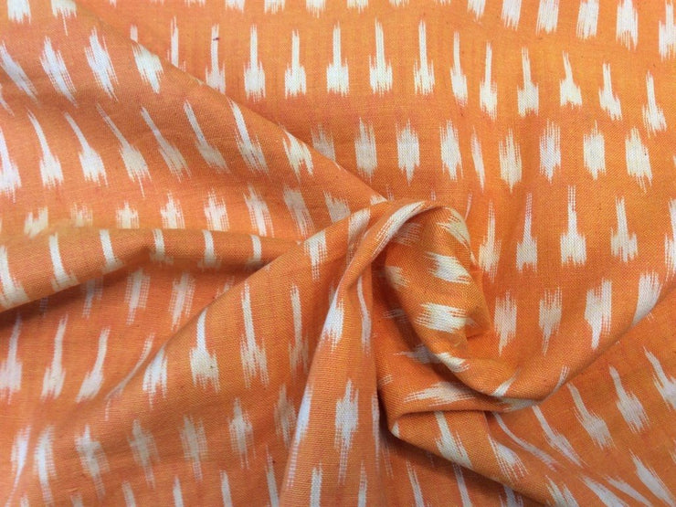 Orange Ikat Print Cotton Ikat Fabric (1757605036066)