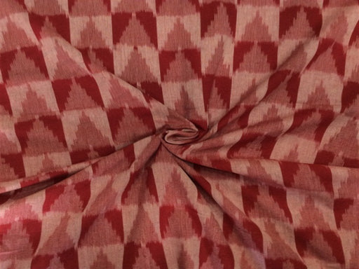 Maroon Chevron Design Cotton Ikat Fabric