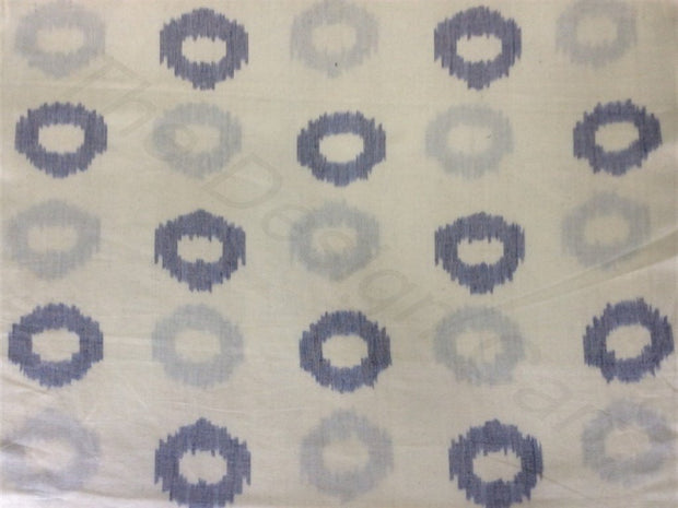 Off White Blue Circles Design Cotton Ikat Fabric (1737844424738)