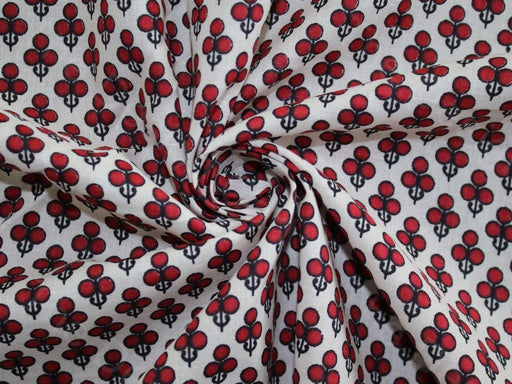 Wine Red Clover Cotton Fabric