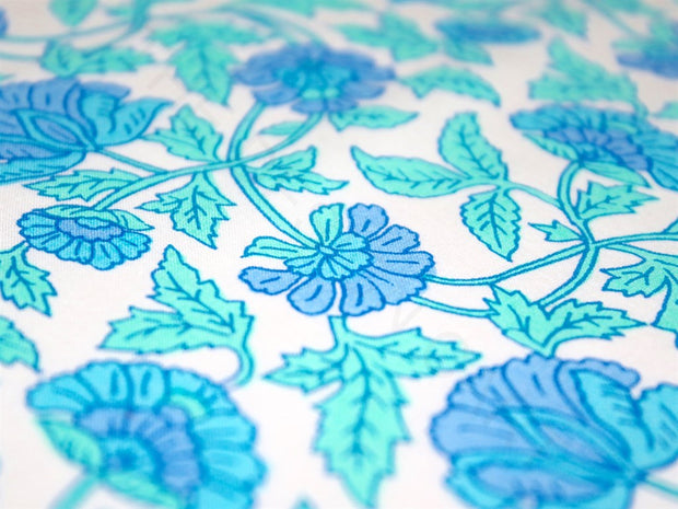 White Turquoise Blue Flowers Cotton Fabric | The Design Cart