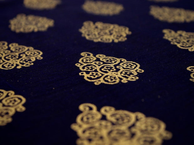 Navy Blue Floral Motifs Chanderi Silk Fabric (1815509499938)