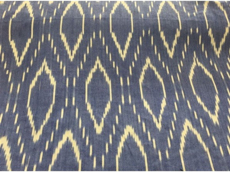 Gray Yellow Ikat Print Cotton Ikat Fabric (1757605593122)