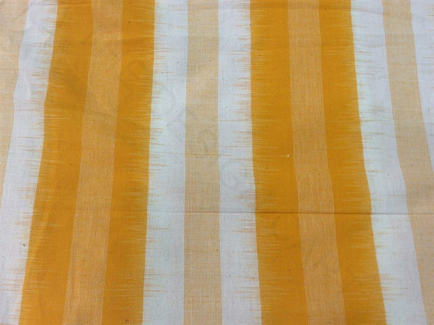 Yellow Mustard Stripes Print Cotton Ikat Fabric (1757606445090)