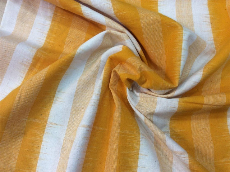 Yellow Mustard Stripes Print Cotton Ikat Fabric | The Design Cart (1757606445090)
