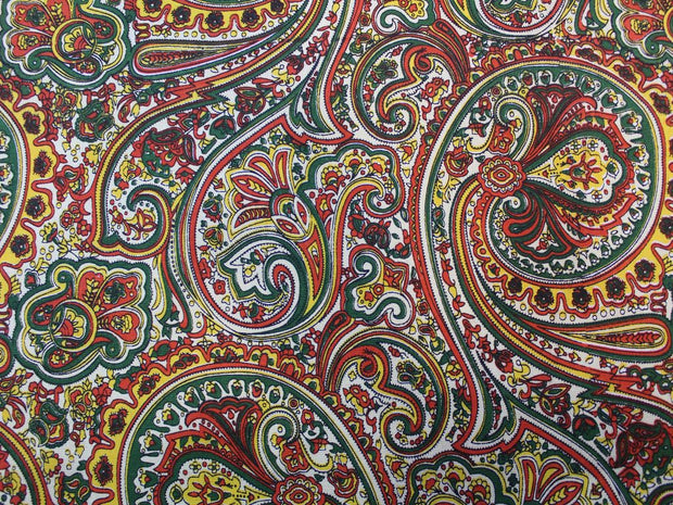 Multicolor Paisley Design Cotton Canvas Fabric | The Design Cart