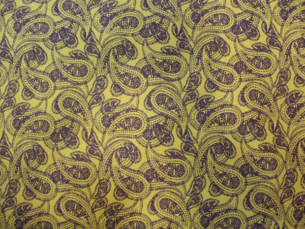 Yellow Paisley Design Cotton Canvas Fabric | The Design Cart