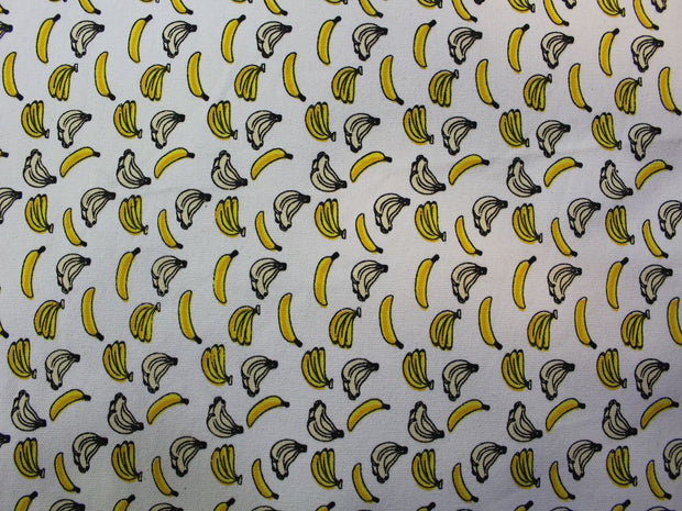 Cream and Yellow Banana Design Cotton Canvas Fabric | The Design Cart