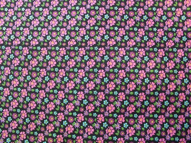 Multicolor Flower Design Cotton Canvas Fabric | The Design Cart