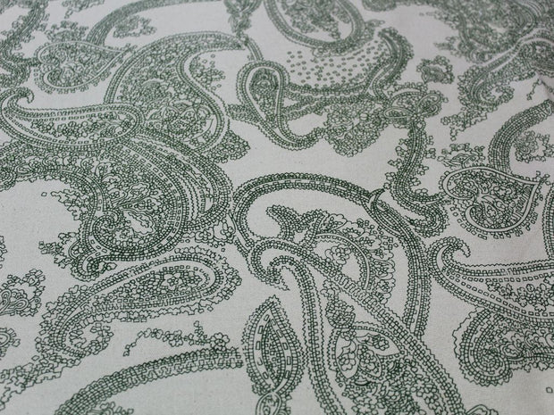Light Green Paisley Design Cotton Canvas Fabric | The Design Cart