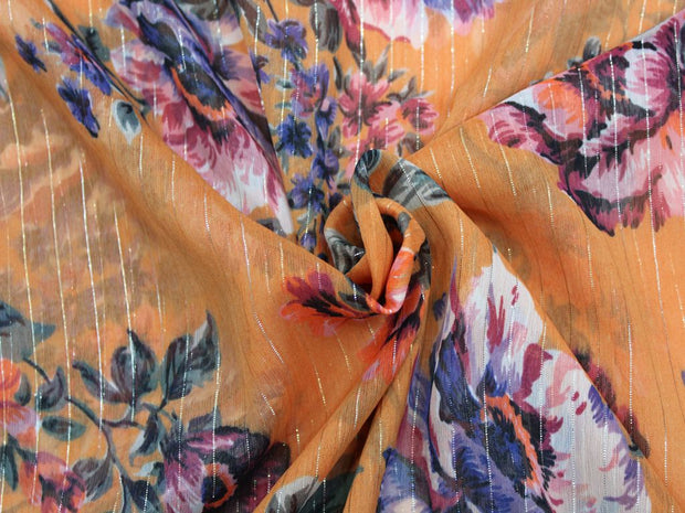 Orange Flower Print Design Lurex Poly Chiffon Fabric | The Design Cart (4359737901125)