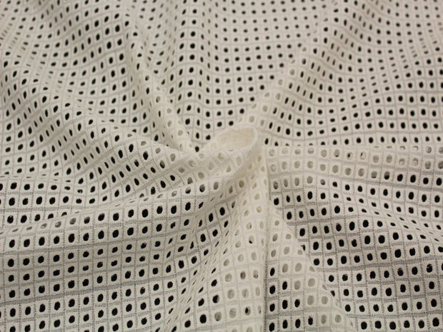 Off White Geometric Embroidered Cotton Voile Fabric | The Design Cart