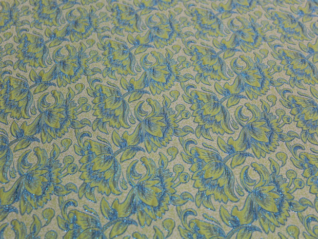 Green Blue Flowers Design Polyester Jacquard Fabric