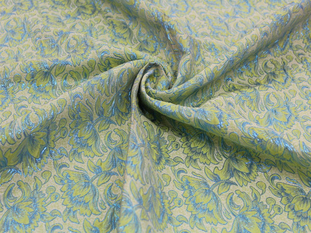 Green Blue Flowers Design Polyester Jacquard Fabric | The Design Cart