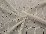 Off White Embroidered Geometric Cotton Voile Fabric | The Design Cart
