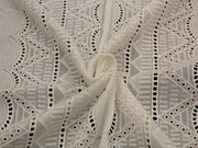 Off White Embroidered Abstract Geometric Cotton Voile Fabric | The Design Cart