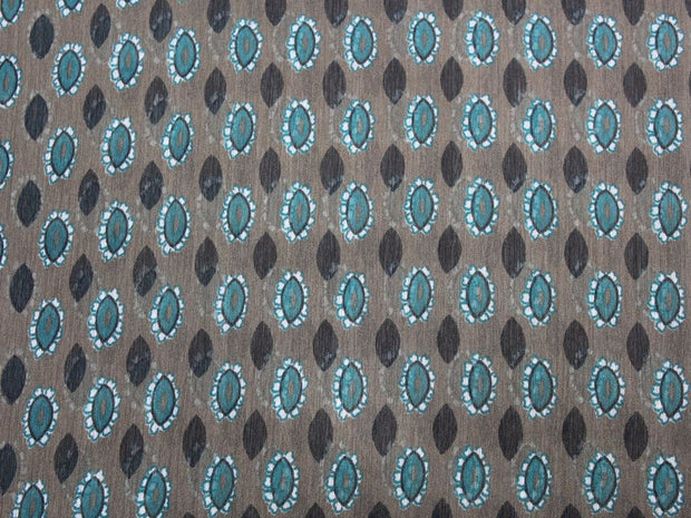 Brown Green and Black Drop Print Design Poly Chiffon Fabric | The Design Cart
