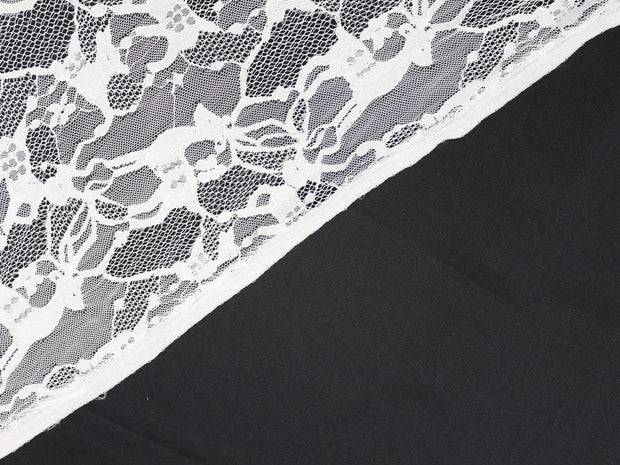 White Animal Design Embroidered Nylon Net Fabric | The Design Cart