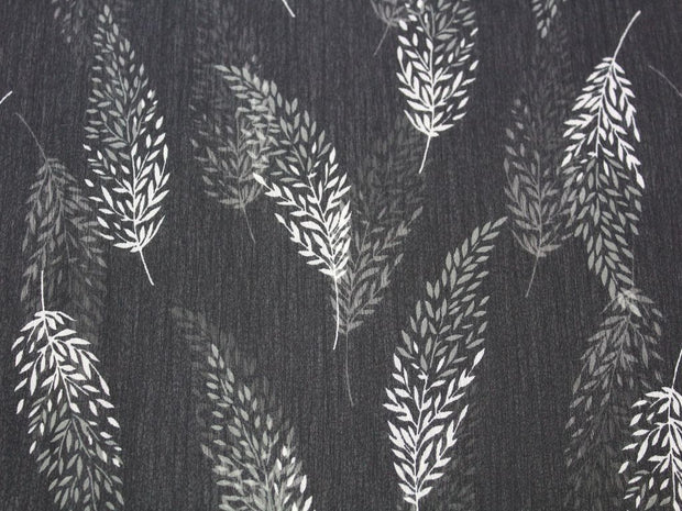 Black White Leaf Print Design Poly Chiffon Fabric | The Design Cart
