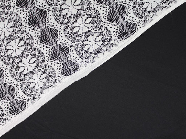 White Floral Stripes Embroidered Nylon Net Fabric | The Design Cart