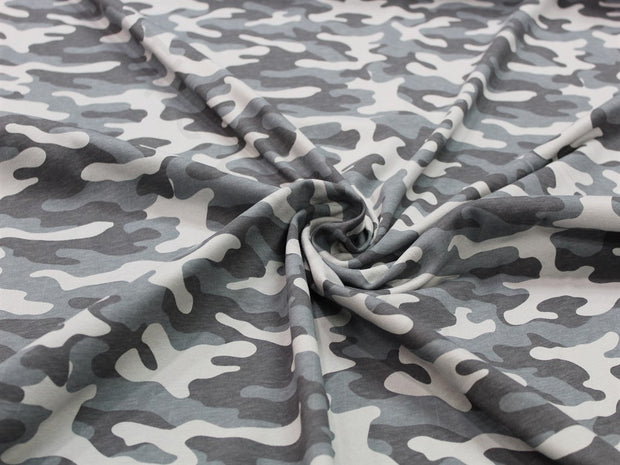 Gray Camouflage Design Cotton Jersey Fabric | The Design Cart
