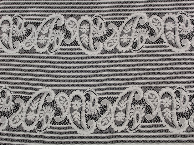 White Paisley Embroidered Nylon Net Fabric | The Design Cart