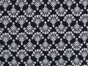 Blue White Flowers Design Cotton Jersey Fabric