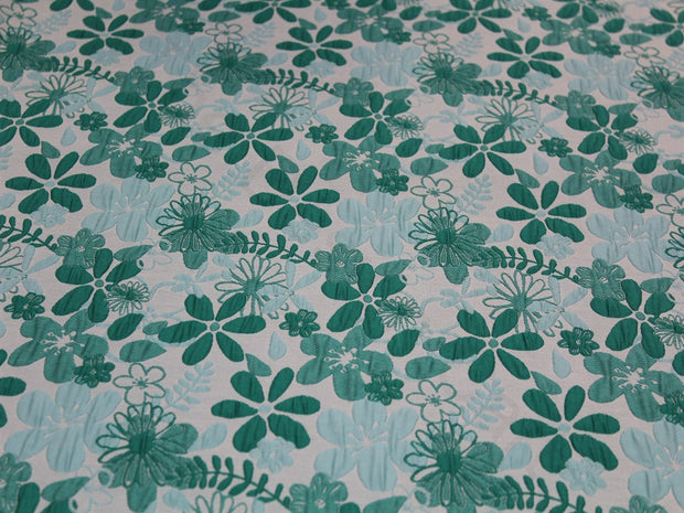 Green Blue Flower Design Polyester Jacquard Fabric
