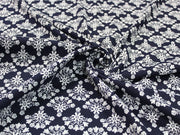 Blue White Flowers Design Cotton Jersey Fabric | The Design Cart