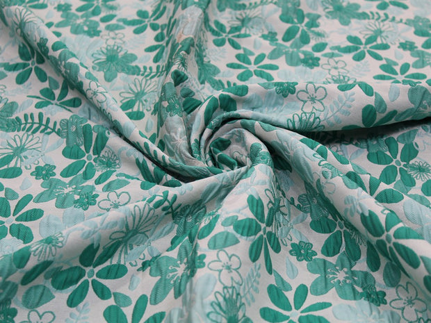 Green Blue Flower Design Polyester Jacquard Fabric | The Design Cart