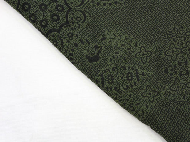 Green and Black Floral Print Design Poly Chiffon Fabric | The Design Cart