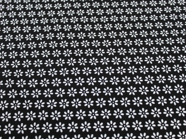 Black Flower Design Cotton Jersey Fabric