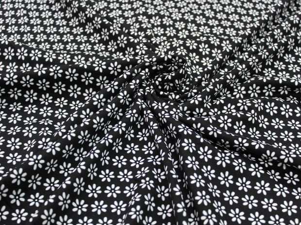 Black Flower Design Cotton Jersey Fabric | The Design Cart