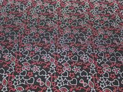 Black Hearts Design Cotton Jersey Fabric
