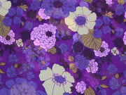 Purple and Yellow Flower Print Design Poly Chiffon Fabric | The Design Cart