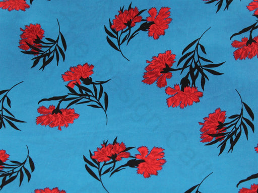 Blue Flower Design Polyester Velvet Fabric