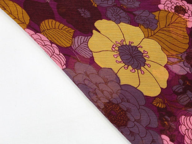 Purple and Yellow Flower Print Design Poly Chiffon Fabric | The Design Cart (4360509194309)