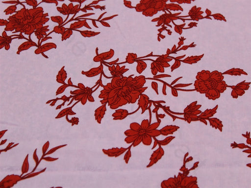 Pink Red Flower Design Polyester Velvet Fabric
