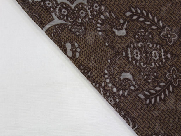 Choclate Brown Floral Print Design Poly Chiffon Fabric | The Design Cart