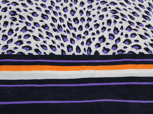 White Purple Animal Print Design Polyester Velvet Fabric